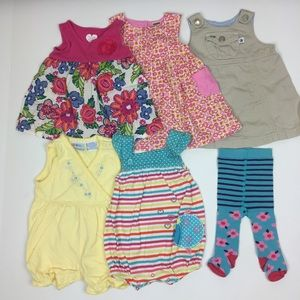 Other - 6-Piece Lot Summer Baby Dresses Rompers Tights